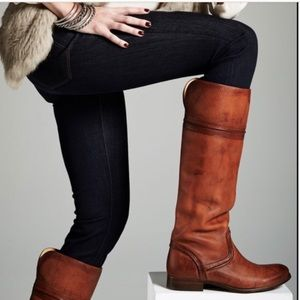 Frye Melissa Trapunto Tall Cognac Pull Up Boots